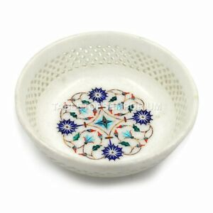 """8"""" Hand Curved Marble Fruit Serving Bowl Floral Pietradura Art Black Friday Gift"""