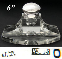 """LG Antique .830 (nearly sterling) Silver & Cut Glass 6"""" Captain's Style Inkwell"""