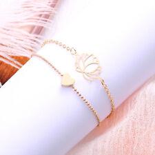 2 Pcs/Set Charm Lotus Flower Love Heart Shape Hand Chain Bracelets Jewllery one