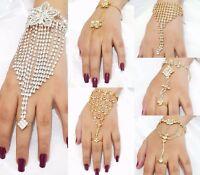 Indian Finger Ring Hand Harness Chain Bracelet Jewellery Designer Bollywood Wear