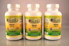 Niacin No flush 500mg, reduce cholesterol, high quality - 300 capsules (3 x 100)