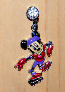 minnie mouse roller skating purple & red charm dust plug cell phone
