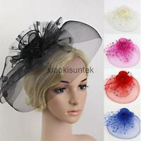 Flower Dot Feather Mesh Fascinator Hat on Clip Veil Wedding Prom Hair Accessory