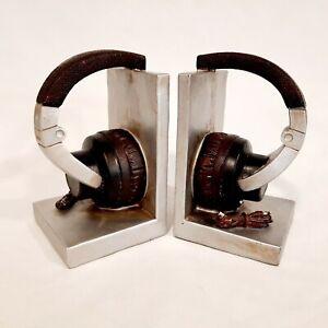 Vintage Headphones Bookends Music Shelf Organiser CD Office Study Heavy