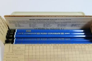 J.S. Staedtler 6 H 2886 Mars Lumograph Drafting Pencils Tin 10 PCS New Vintage