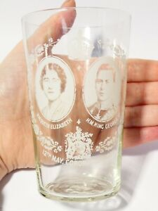1937 George VI Coronation Souvenir Drinking Tumbler Clear Glass