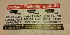 VIDEO SURVEILLANCE Security Decal  Warning Sticker (if you are ...)set of 3 pcs