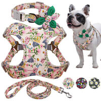 Matching Collars&Harness&Lead set for Dogs Floral Nylon Pet Vest French Bulldog