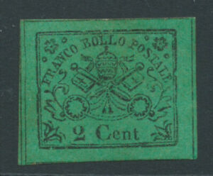 PAPAL STATES 1867 SG30a 2c green variety no stop after cent mint no gum cat £375