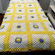 Vintage Crocheted Granny Square Blanket Throw Lap Blanket Afghan Yellow Bright F
