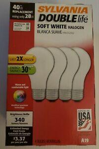 4 pk Sylvania 40w equivalent uses 28w Soft White Double Life Halogen Light Bulbs