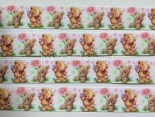"BB Ribbon CUTE BABY TEDDY BEARS PINK FLOWERS  2m grosgrain 7/8"" 22mm"