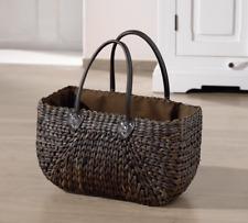 Tasche Korbtasche Flechtoptik Mokka Umhängetasche Shopper Textil Futter Henkel