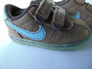 Nike Infant/Toddler Brown Velcro Closure Teal Swoosh Tennis Shoe, Infants Size 3