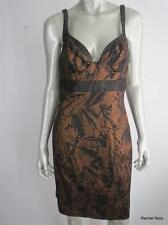NWT NICOLE MILLER 6 S Metallic Bronze Gold Black Cocktail Evening Dress NEW