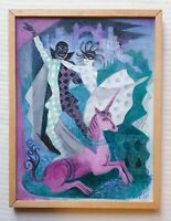 OLGA LEHMANN 1912-2001 original signed oil painting theatre Dancers & Unicorn