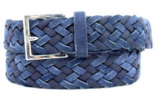ESTNATION Original Woven Fabric and Leather Belt Navy Blue Size 30