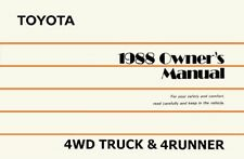 1988 Toyota 4WD Truck / 4Runner Owners Manual User Guide Reference Operator OEM