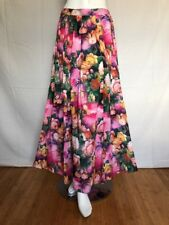 Women's Spicy Girls Long 100% Rayon Bright Flowers Slit Lined Skirt Size S Tall