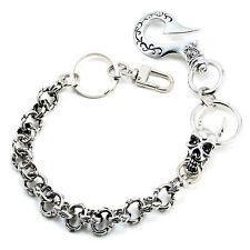 "DK Skull Medieval Knight Gothic Symbol Key Jean Wallet Chain CS104 (14"") Silver"