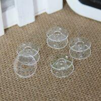 5 X Clear Bobbins - Sewing Machine Plastic Spool  Clear UNIVERSAL Fit Mix colour