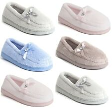 LADIES WOMENS WIDE FIT BOW MOCCASIN FLEECE WARM SLIPPERS SLIP ONSHOES SIZE 4-9