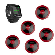 SINGCALL Wireless Restaurant Calling Waiter System 1 Watch, 5 Pagers APE310 Red