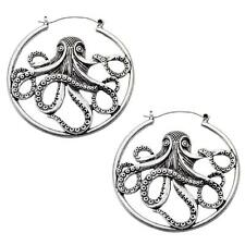 Octopus hoop earrings body piercing jewelry plug tunnel 20g silver  gothic w123