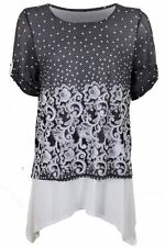 Ladies Turn Up Sleeve Floral Chiffon Lined Waterfall Flared Smart Blouse Top