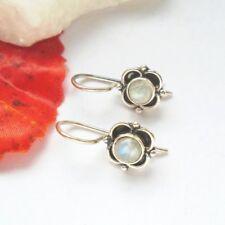 Mondstein Blüte, Blume, blau, weiß, Ohrringe, Ohrhänger, 925 Sterling Silber
