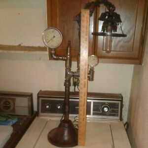Steampunk Sculpture/Lamp Frame Gauges Rustic Industrial Antique.**TALL & LARGE**