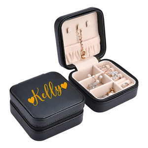 Personalised Beautiful Quality Square Leather Jewellery Box Gift Grey Black Pink