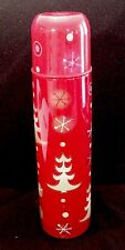Starbucks Thermos Christmas Holiday 2006 Pylones Trees Snowflakes 17 Oz Red