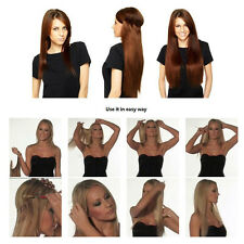 Halo Flip In INVISIBLE Wire 100% Real Remy Human Hair Extension Weft Straight #4