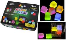 12 ASSORTED COLOR GLOW IN THE DARK ICE CUBES drink lightups bar lights party new