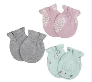 New Gerber 3-Pack Bunny Baby Girl No Scratch Mittens