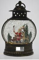 COTTON CANDY  CHRISTMAS ROUND LANTERN  WITH SANTA  LIGHT UP LED WITH GLITTER