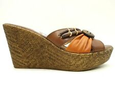 Spring Step Orange Brown Leather Casual Slide Wedge Sandals Women's 38 / 7.5 - 8