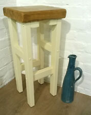 Hand Painted F&B Cream Hand Made Reclaimed Solid Wood Kitchen Island Bar Stool