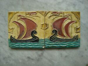 2 mirrored Royal Delft Cloisonne tiles with viking ship porceleyne fles