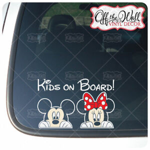 """Mickey and Minnie PEEKING """"Kids On Board"""" [COLOR]Sign Vinyl Decal for Cars/Truck"""