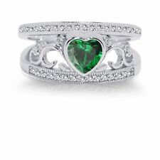 Elegant Emerald Heart Genuine Sterling Silver Ring Set