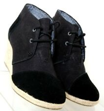 Toms Natural Burlap Sierra Black Suede Cap Toe Espadrille Wedge Women's US 5