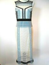 Top Shop Womens Tall White Blue Black Lace Sleeveless Exposed Zipper Dress US 8
