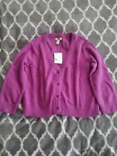 NWT LANDS END CANVAS WOMEN'S CROPPED CARDIGAN SWEATER ANGORA WOOL SIZE S