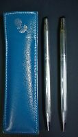 Cross USA Ladies Sterling Silver Rose Ballpoint Pen & Pencil Set w/ Leather Case