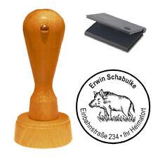 Stempel « Wildschwein Jagd Jäger » Adressenstempel Motivstempel Holzstempel