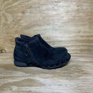 Skechers Suede Zip Booties Womens Size 7.5 Black 49590 Ankle Boots Shoes