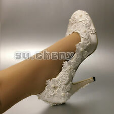 """su.cheny 3"""" 4"""" heels white ivory silk lace Closed toe pumps Wedding Bridal shoes"""