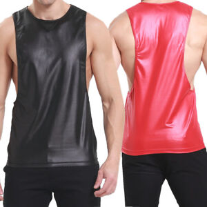 Men's PU Leather Wet Look Sexy T-Shirt Undershirt Muscle Sports Vest Top /Shorts